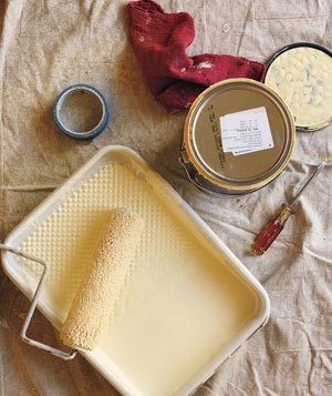 Paint, drop cloth and other painting suplies