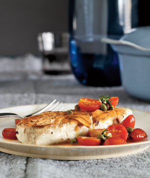 Halibut With Citrusy Tomatoes and Capers