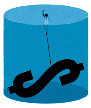 Illustration of a woman chained to a dollar sign with her head above water