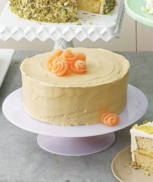 Chocolate Cake With Caramel Frosting and Gumdrop Roses