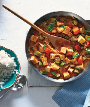 Tofu and Vegetable Curry With Rice