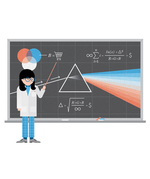 Illustration of a chalkboard and marketing expert