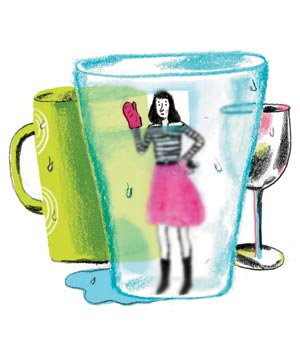 Illustration of woman in glass with dishwasher film