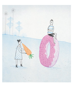 Illustration: woman with carrot and man sitting on donut