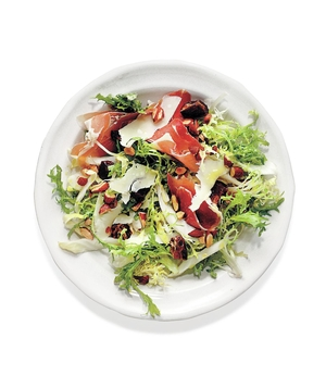 Frisée and Endive Salad With Dates, Parmesan, Almonds, and Prosciutto
