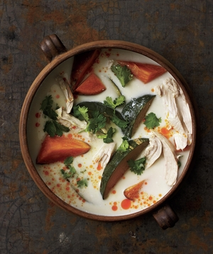Poached Chicken Soup with Coconut Milk and Chunky Vegetables