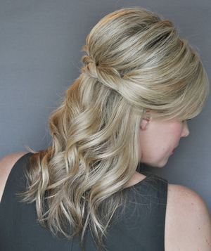 Finished Half-Up Twist Hairstyle by Kate Bryan
