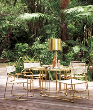 Gilded glamour backyard chairs and table