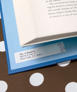 Book labeled with return address label sticker
