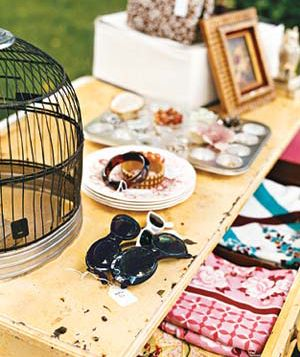 A table of tag sale items