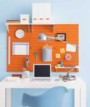 Pegboard in a home office