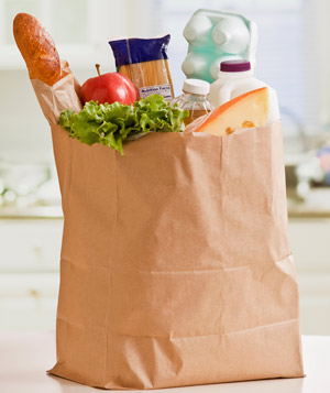 Brown paper bag of groceries
