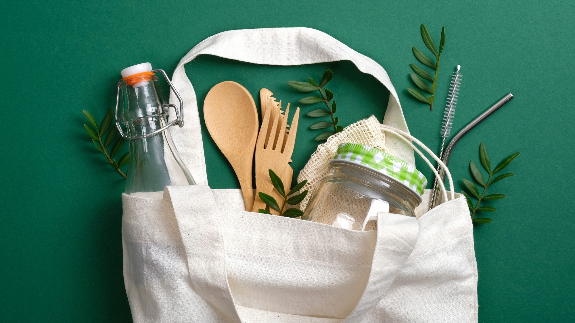 How to Clean Reusable Grocery Bags, cotton bag with groceries