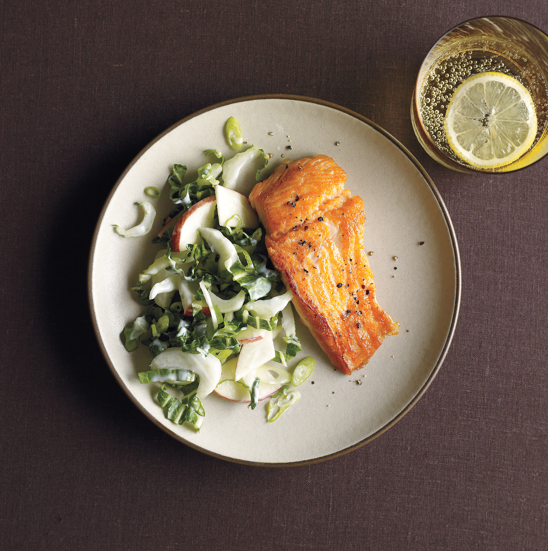 Salmon With Bok Choy and Apple Slaw
