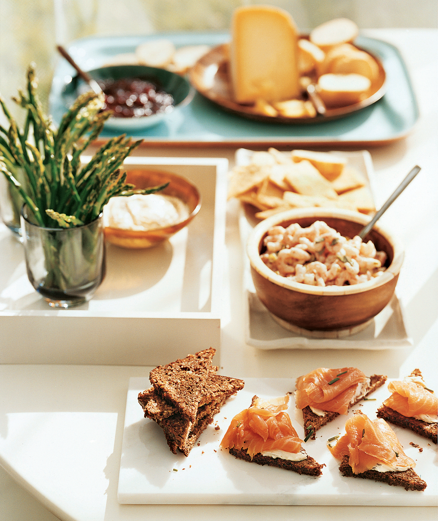 Smoked Salmon Triangles and Herbed Bay Shrimp With Rye Crackers