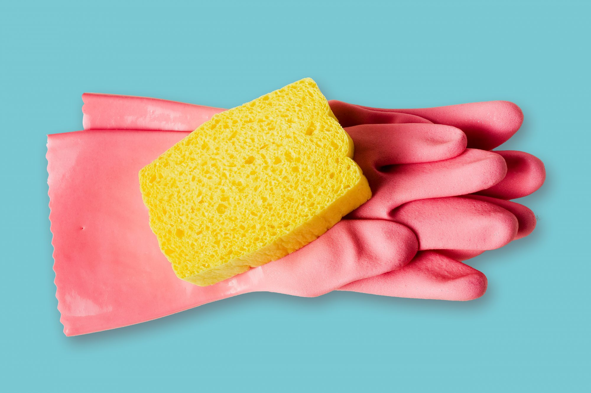 Spring Cleaning Shortcuts, gloves and sponge