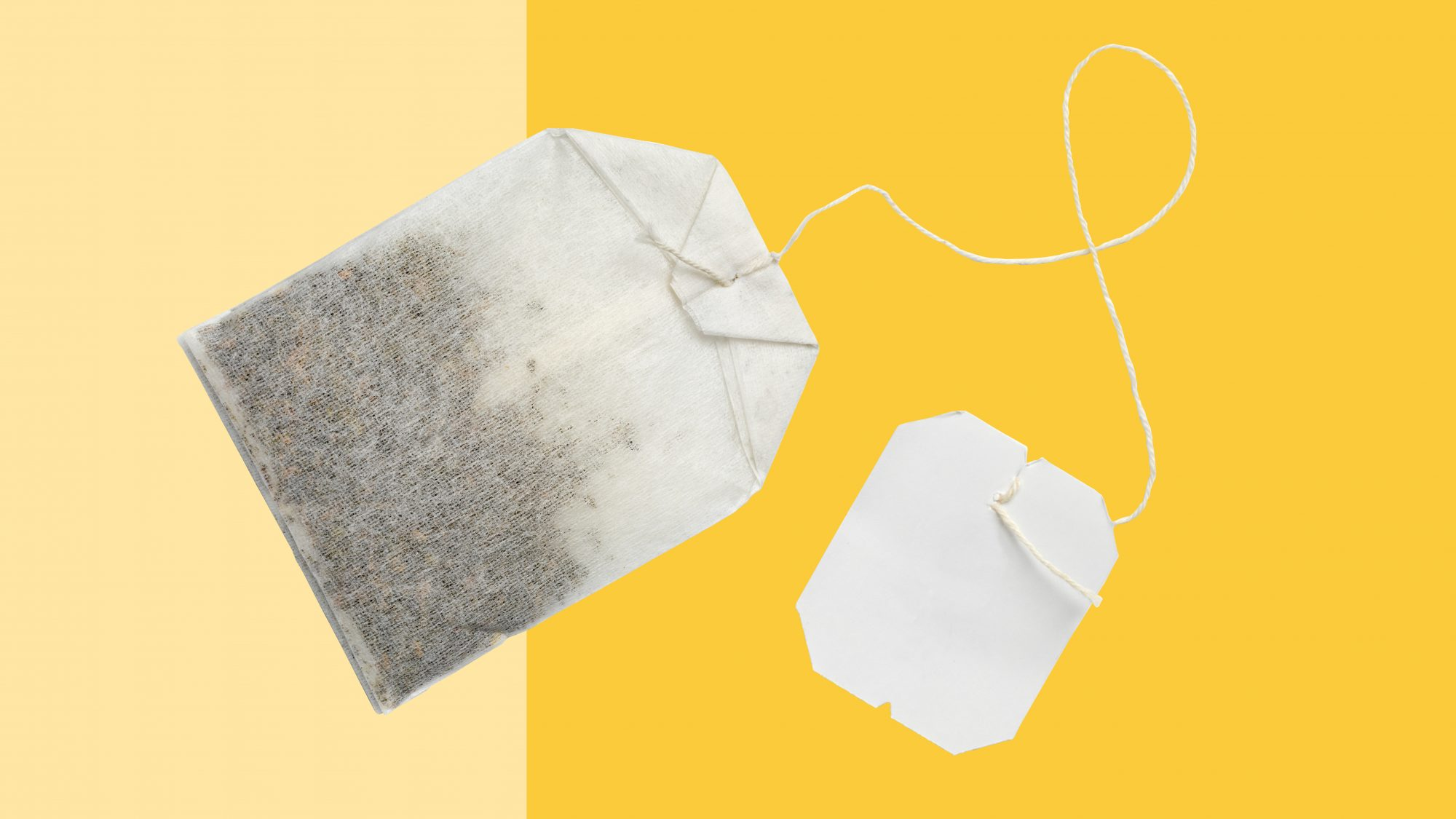 tea bag on yellow background