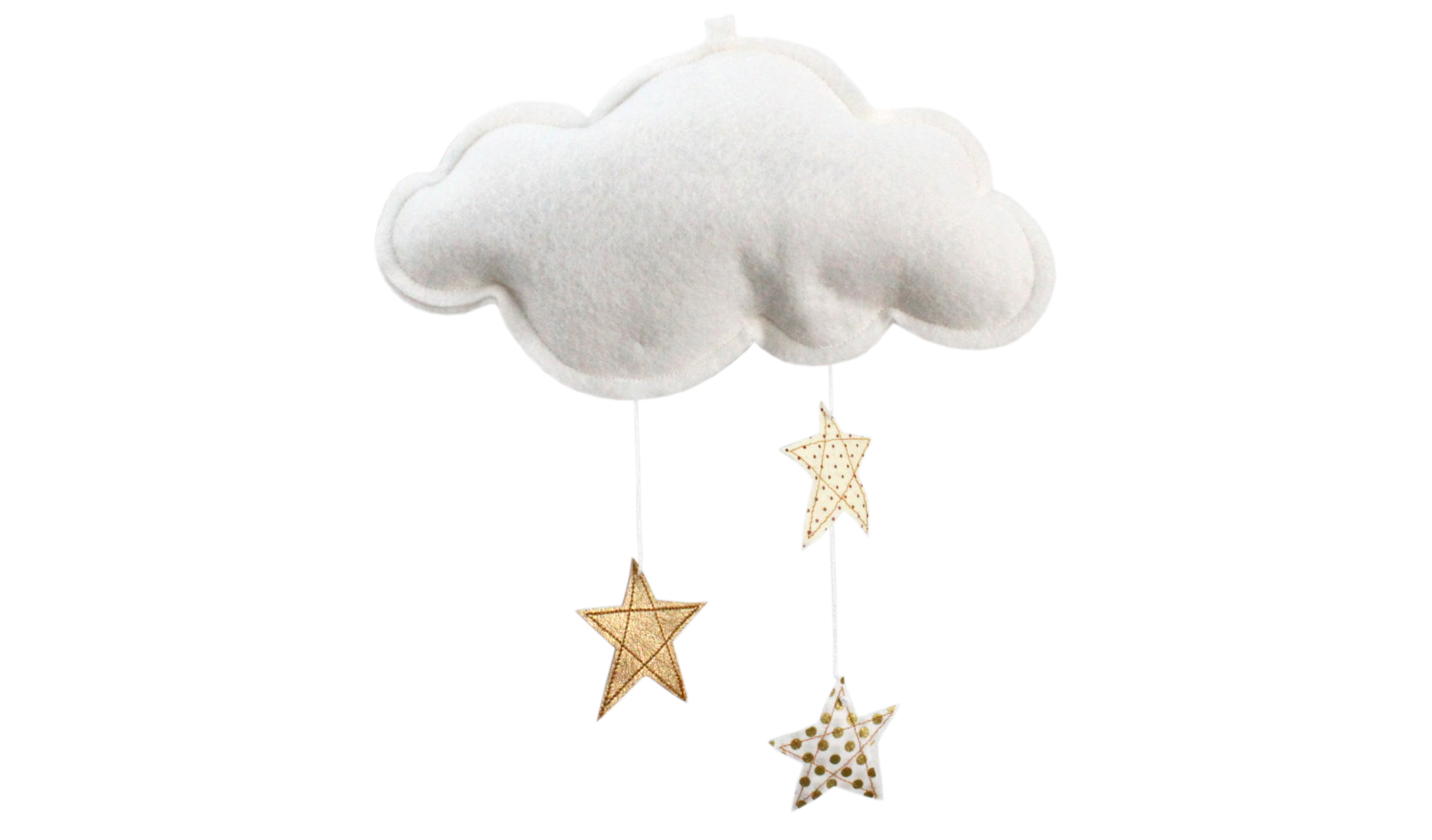 Gold Stars and White Felt Cloud Mobile