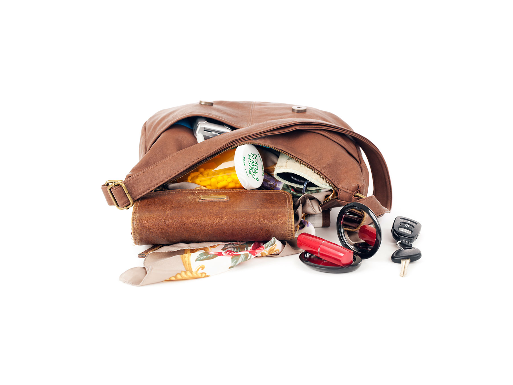 Open Purse With Contents Spilling