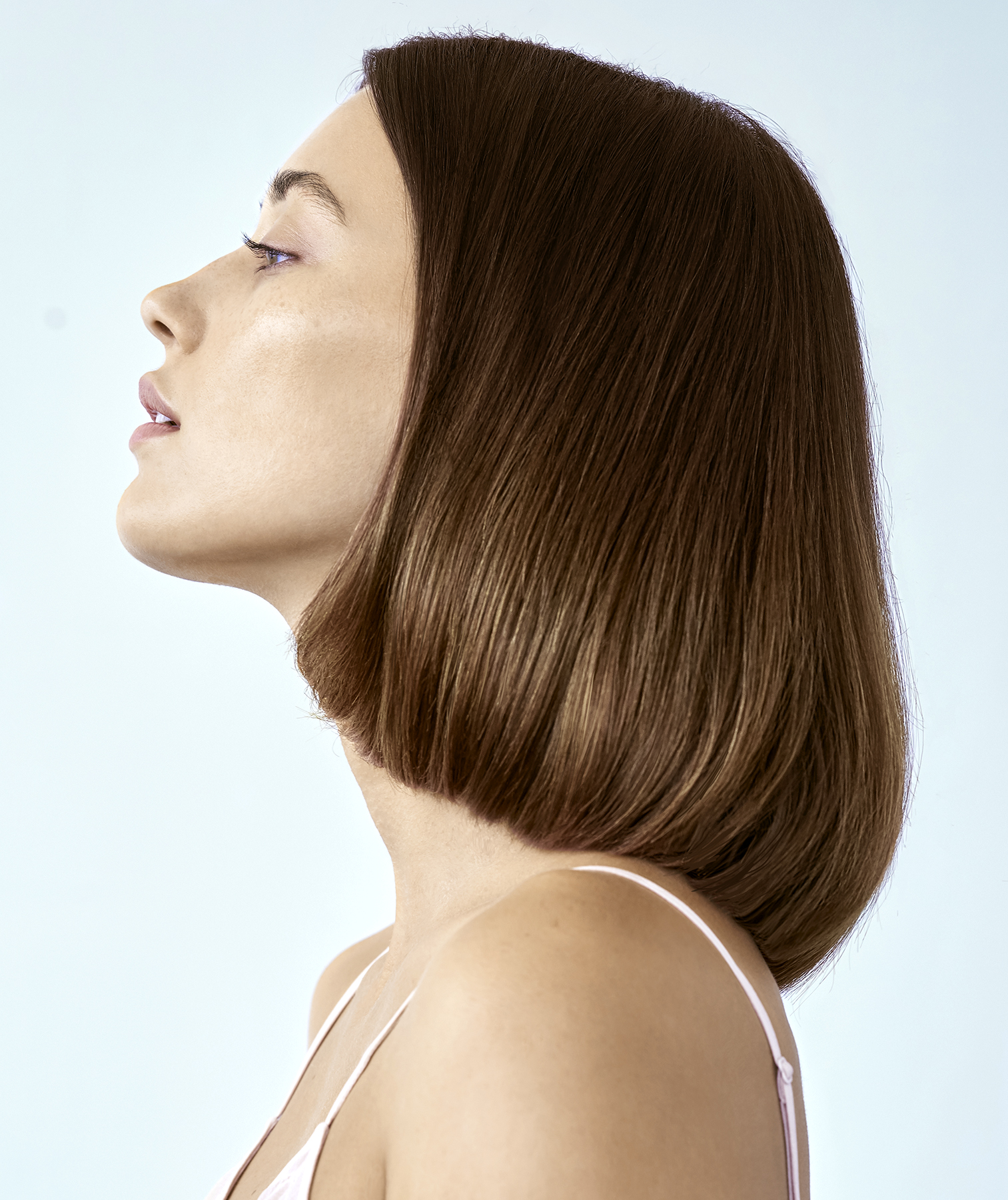 Short hair styled into a sleek blowout