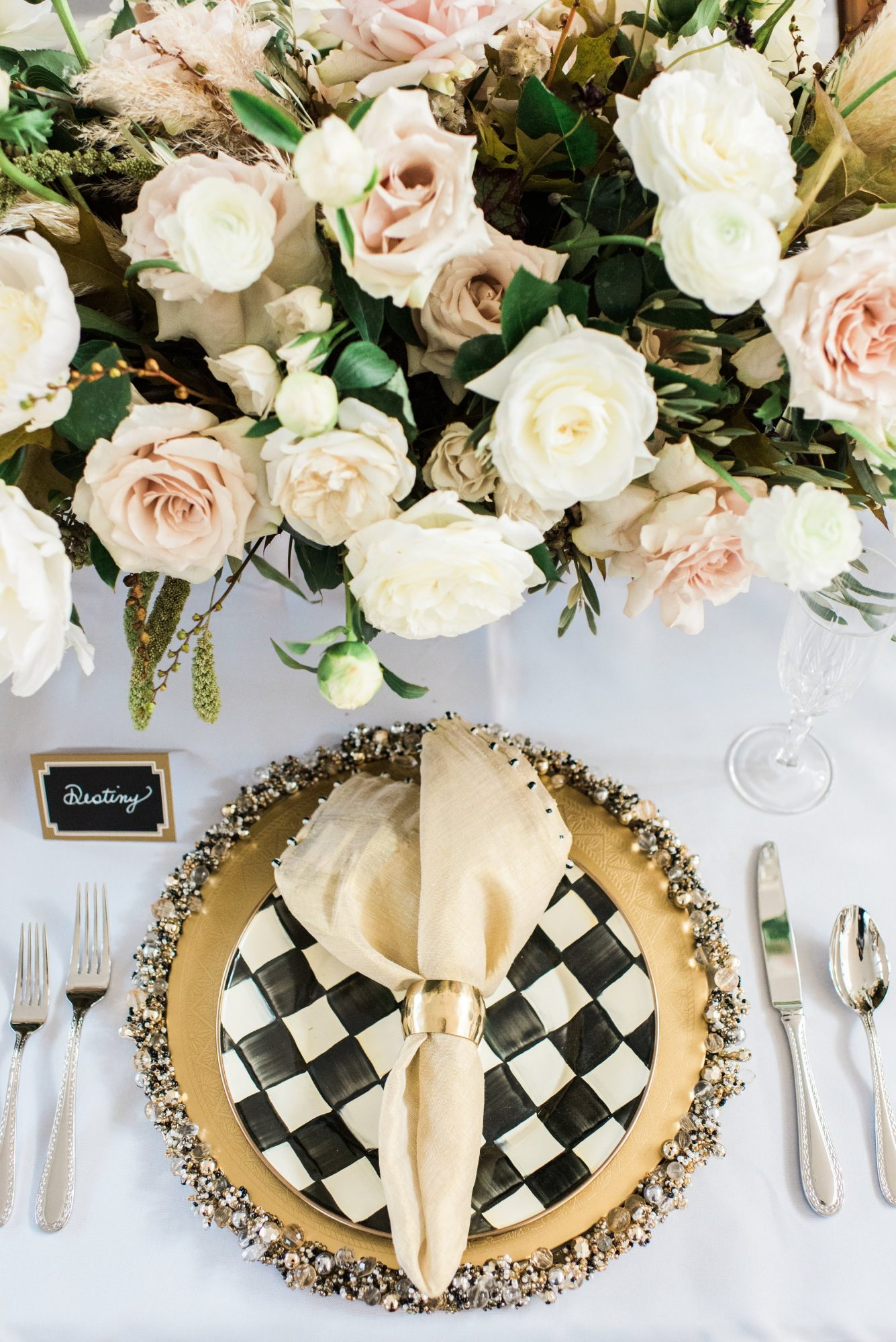 Black and White Thanksgiving Table Setting