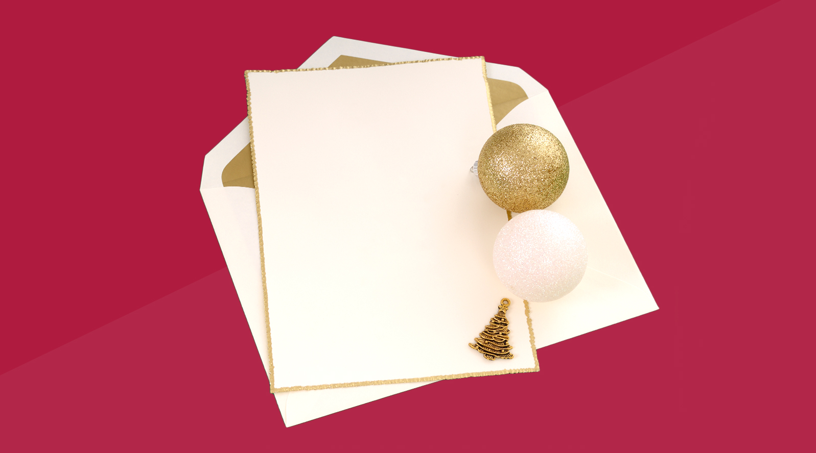 stationery on red background