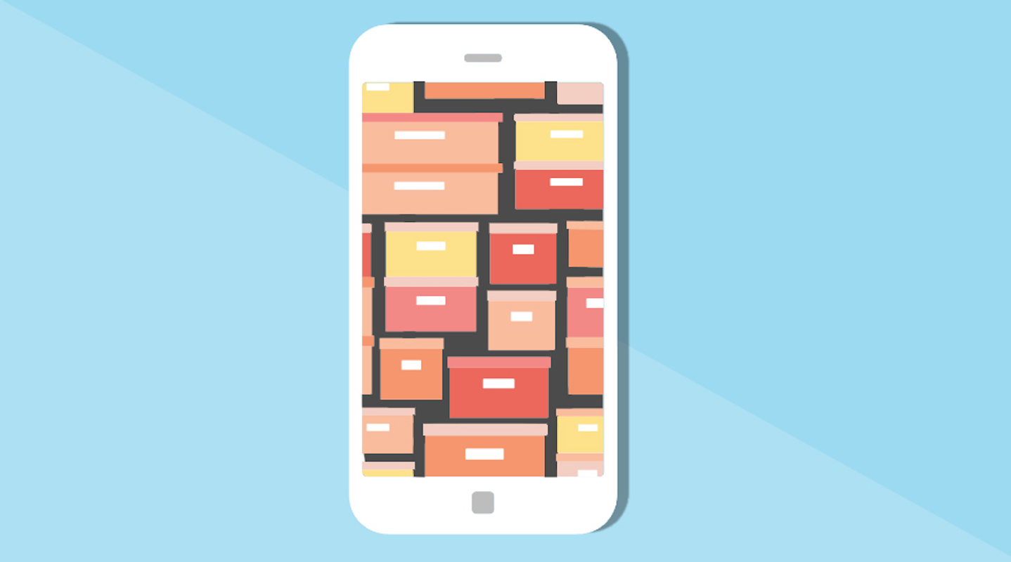 Home organizing apps, illustrated phone