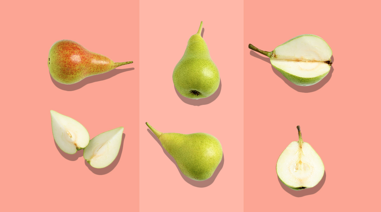 pears on a coral colored background