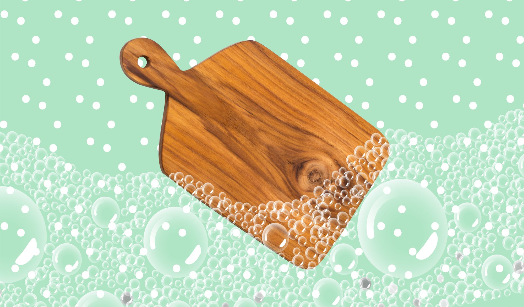 How to Clean Wood Cutting Boards and Keep Them Germ-Free: image of wood cutting board with soap bubbles