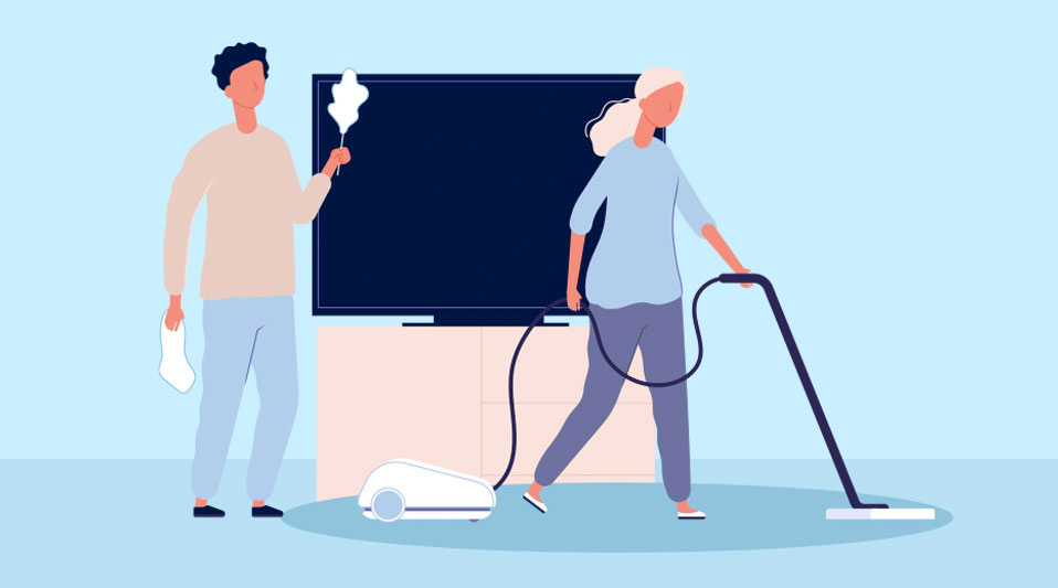 illustration of man and woman cleaning their home to get rid of dust bunnies