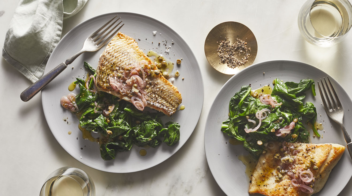 Striped Bass With Toasted-Shallot Vinaigrette and Spinach