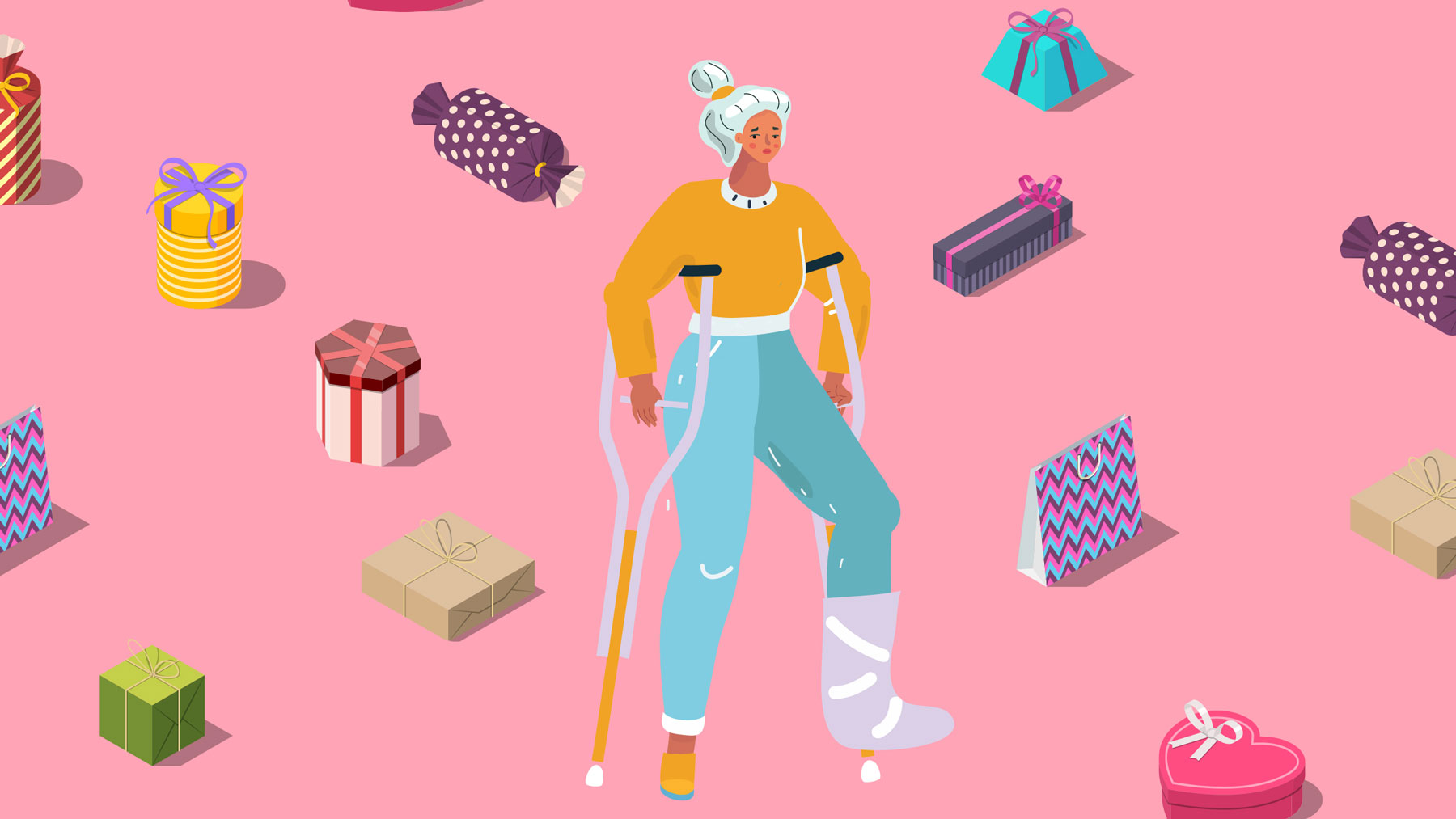 Gifts for sick people, injured people, and quarantine gift ideas (woman on crutches)