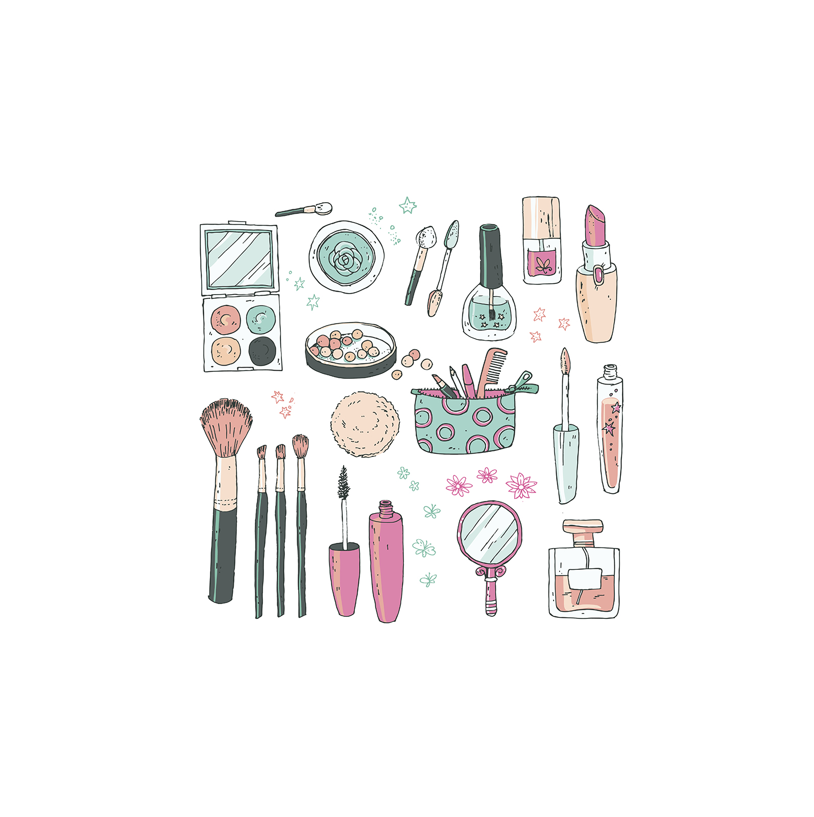 Illustration: makeup and beauty products