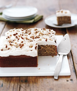 Pecan Cake With Rum Frosting