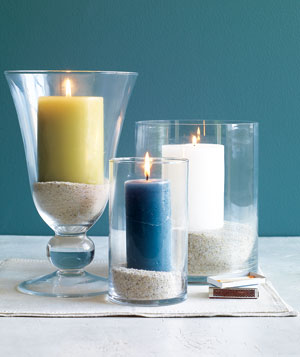 Candles in sand