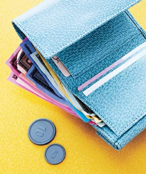 Blue wallet with play money