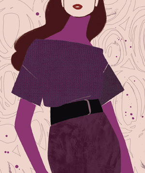 Illustration of a woman wearing a belted dress