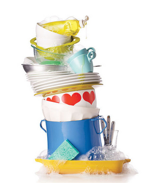 A stack of soapy dishes