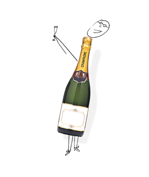 Champagne bottle with doodle of man making a toast