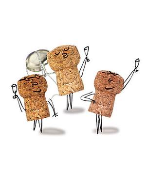 Cork doodles giving toasts
