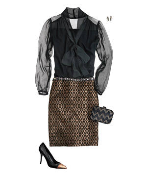 Black sheer blouse with black and gold brocade skirt and accessories