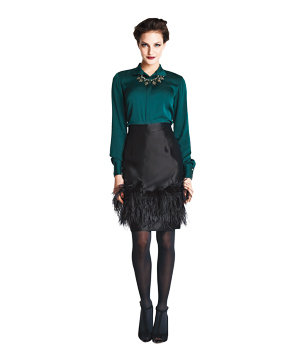 Banana Republic top and feathered skirt