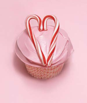 Cupcake with candy cane heart accent