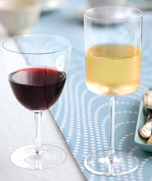 Glass of red & white wine