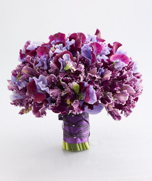 Bouquet of parrot tulips and sweet pea