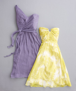 Purple and yellow bridesmaid dresses