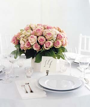 Wedding floral centerpiece and place setting