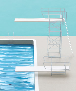Paper construction of pool and diving board by Matthew Sporzynski