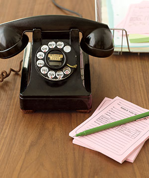 Rotary telephone and pen