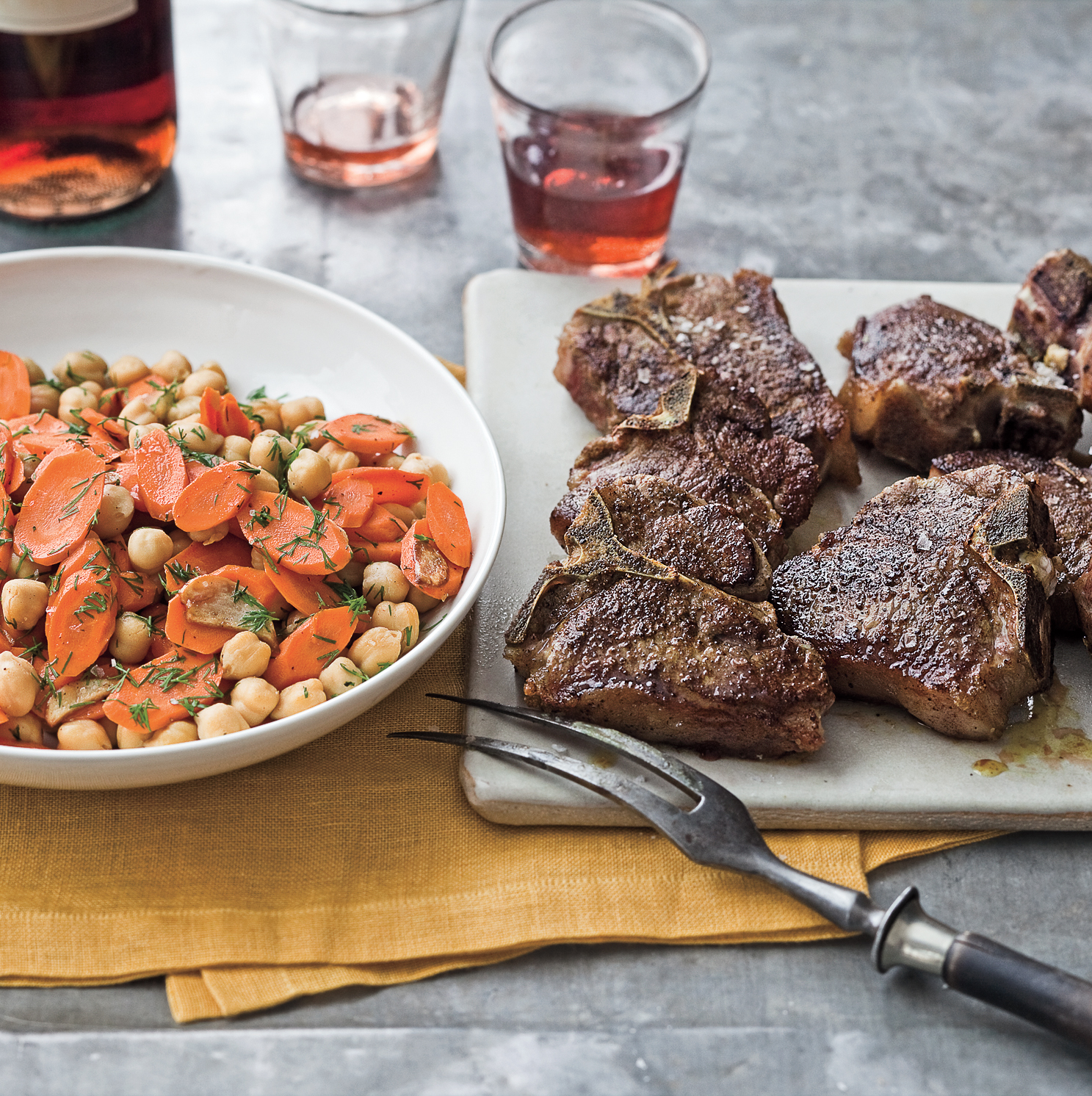 Spiced Lamb Chops With Chickpeas and Carrot Saute